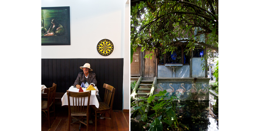 Colombian architect Simon Vélez in his favourite restaurant and part of his house in La Candelaria